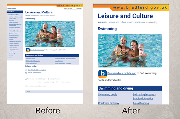 Swimming page on a smartphone before and after changes