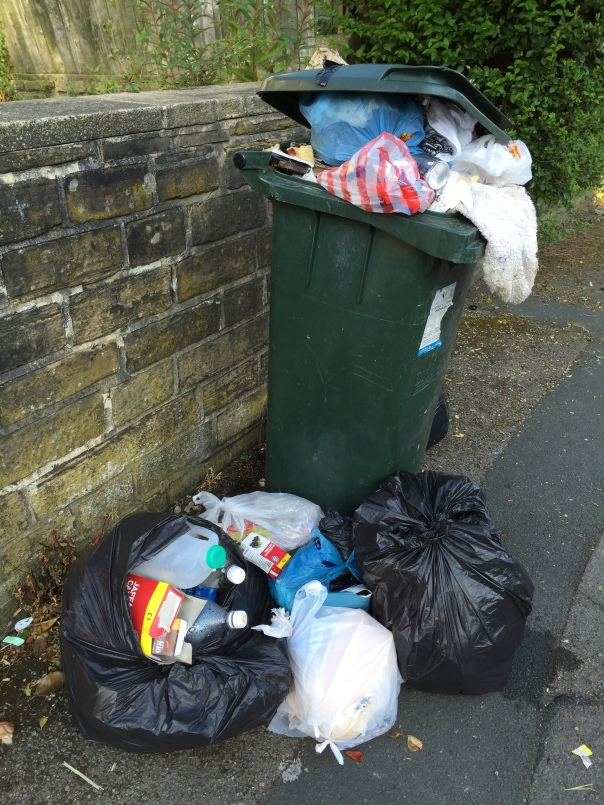 This resident would probably not have had an overflowing bin if they had put their plastic bottles and cardboard in their recycling bins.