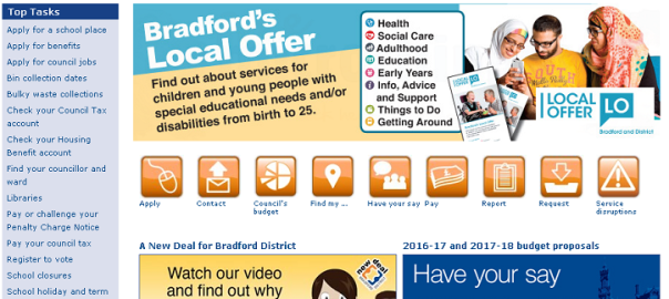 Home page of the Bradford Council website