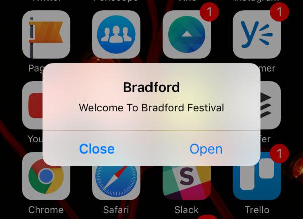 Bradford Council app alert for Bradford Festival