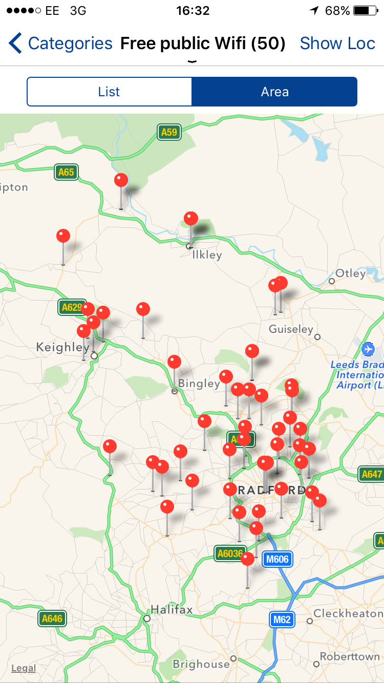 Find free local WiFi and Pokmon GO locations with the Bradford