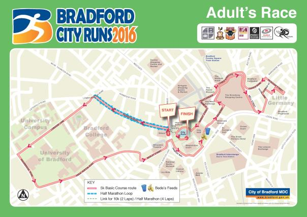 Bradford City Runs 2016 adult course map