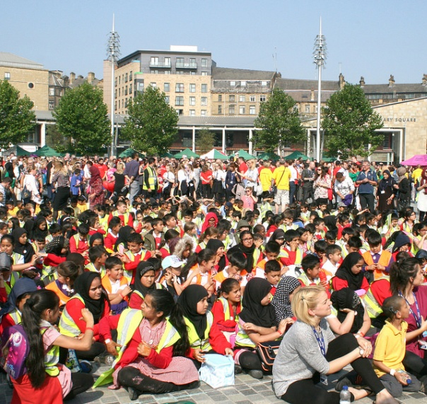 School children at the Love Bradford World Record Attempt