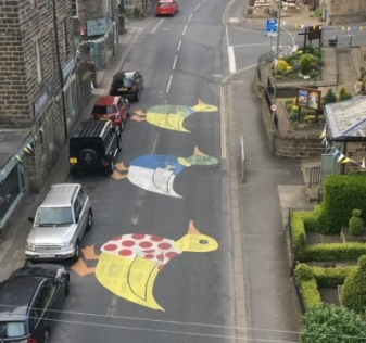 Addingham ducks street art for the 2017 Tour de Yorkshire